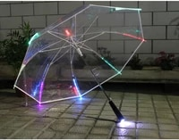 2pcslot 103cm diameter auto open transparent pvc led 7 colour changing lighting poe umbrella environmental protecting parasol