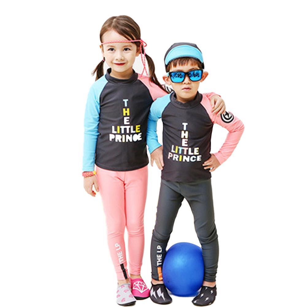 Conjunto de 2 unidades de traje de baño de secado rápido para niños, traje de baño de manga larga con protector solar dividido, traje de baño de estilo musulmán para niños y niñas, ropa de baño de verano