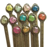 1 Pcs Creative Retro Bronze Round Bookmark Ruler Vintage Metal Colorful Flower Bookmarks with Glass Gems As Book Page Marker