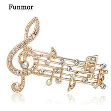 Funmor Note de musique grandes broches pour les femmes autrichien cristal écharpe manteau Clips broches icône bijoux fête robe Broche décoration