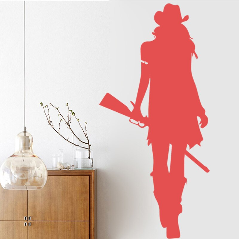 Cowgirl Wall Stickers Texas Wild West Rifle Gun American Style Home Decor Living Room Wall Art Stickerdie Wall Design Sticker