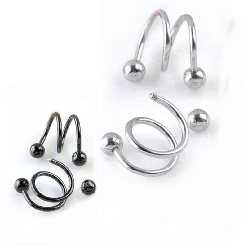 Oferta, 1 par, pendientes de hélice en espiral Unisex Punk para hombres y mujeres a la moda, Clip de cartílago de roca, Piercing corporal, joyería, 5 colores