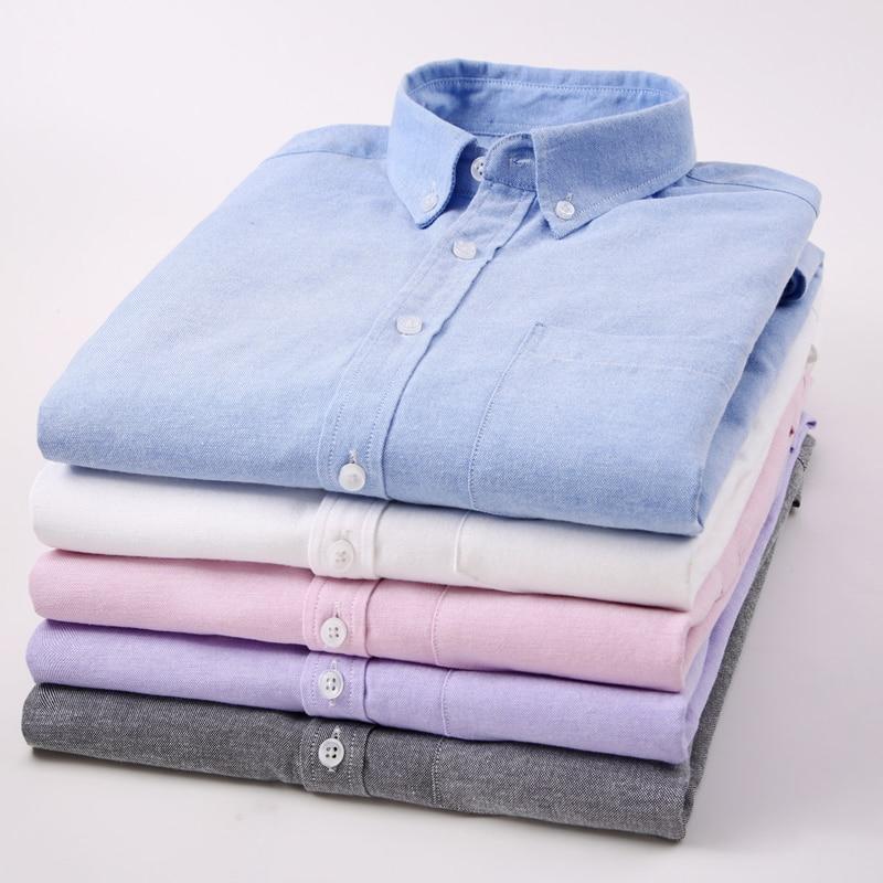 Мужская рубашка из ткани Оксфорд, однотонная хлопковая Классическая приталенная рубашка с длинными рукавами и воротником на пуговицах, Осе...