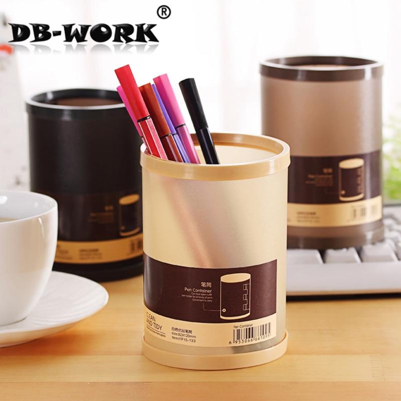 Bricolage créatif porte-stylo étudiants boîtes de papeterie la nature de la corée du sud est un conteneur de stylo de couleur unie en plastique supérieur