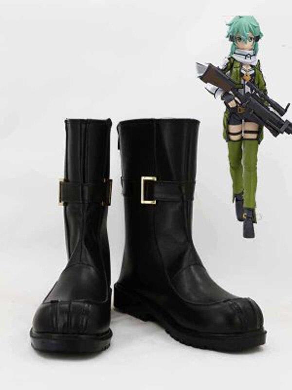 Sword Art Online II Phantom Bullet Asada Shino Sinon zapatos de Cosplay botas para adultos Halloween fiesta Cosplay botas hechas a medida