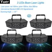 4pcslot 3 lens rgb full color scan beam line pattern laser lights dmx 512 modern dj christmas party stage lighting equipment
