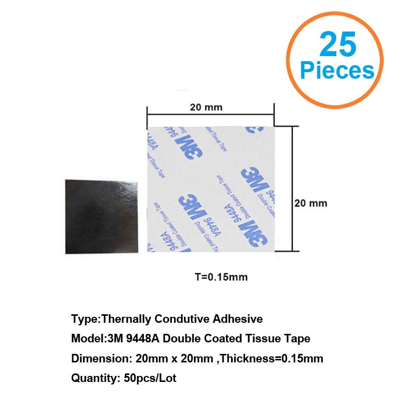 Термопроводная лента с двойным покрытием, 25 шт., 3M9448A, 20x20x0,15 мм, термопроводящая клейкая лента для теплоотвода радиатора