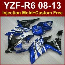 Aftermarket owiewki motocykla dla YAMAHA 2008 2009 2011 2013 YZF-R6 formy wtryskowe niebieskie części ciała, na których możesz zrobić sobie YZFR6 08-13 FAAC YZF1000 R6