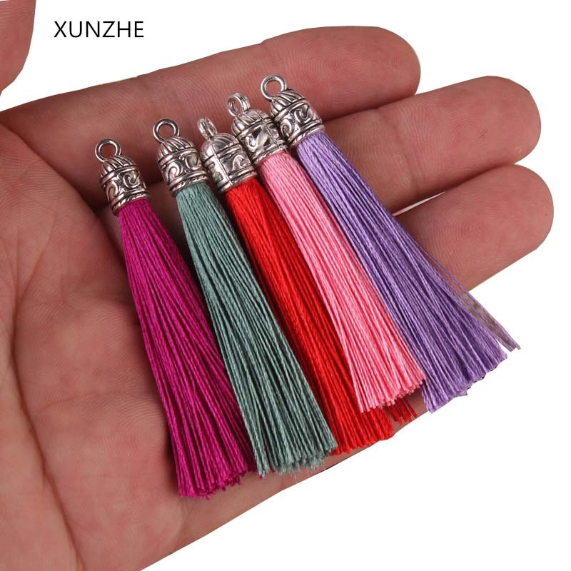 Xunzhe 10 pçs mini metal boné borla jóias cortina roupas acessórios decorativos diy chave saco do telefone celular franja guarnição borlas