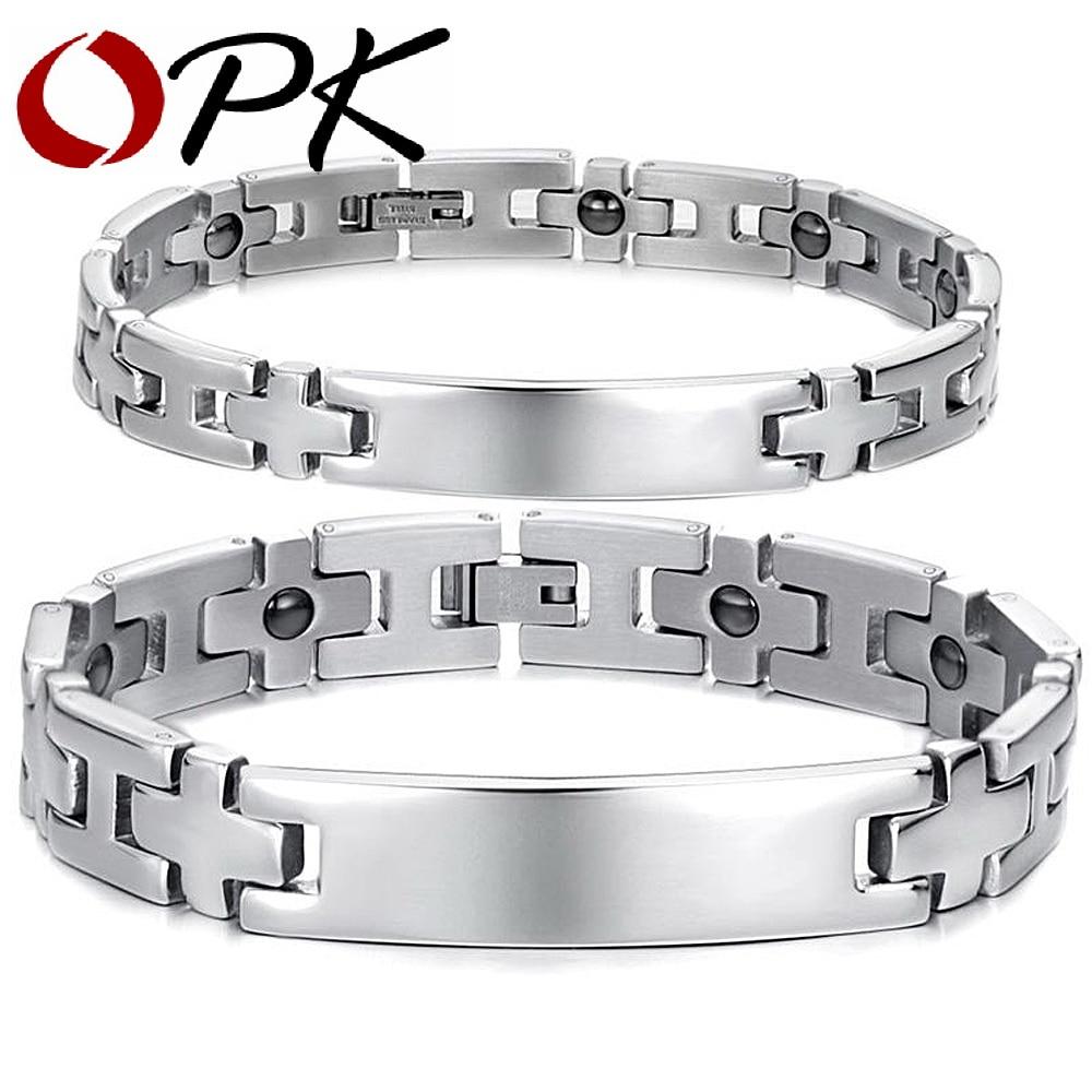 Pulsera de acero inoxidable saludable para OPK joyería, brazalete magnético para parejas, cadena con diseño de bola cruzada, joyería para hombres y mujeres GS8403