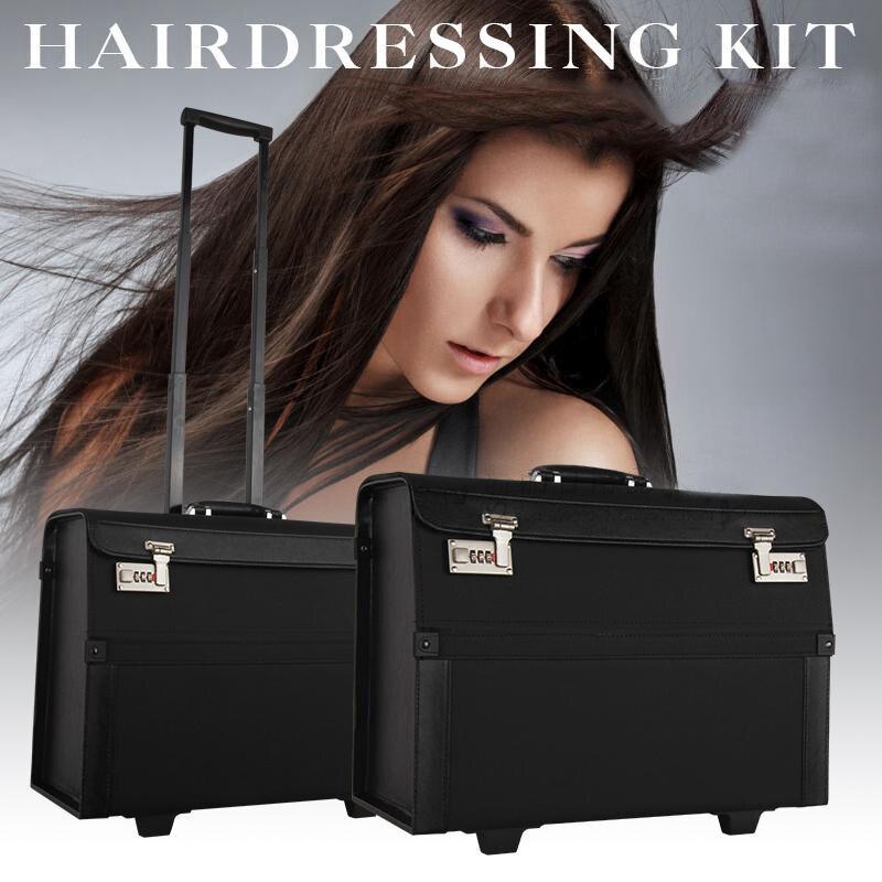 Grande boîte à outils à cheveux ouverte sèche-cheveux peigne pince à coiffer rangement coiffeur chariot boîte cheveux outils