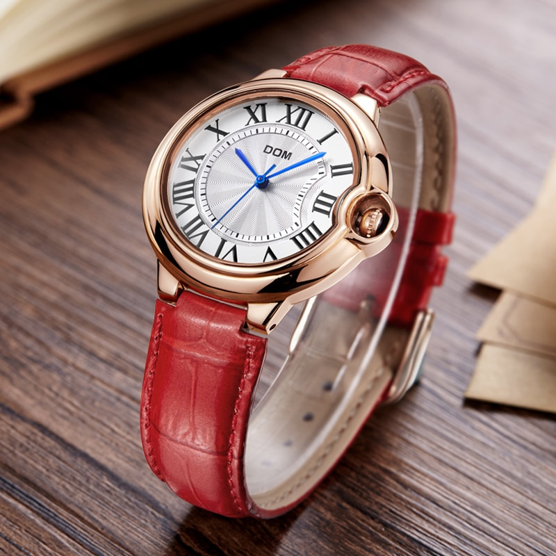 DOM Watch Women brand luxury Fashion Casual waterproof leather Lady golden quartz watches relojes womenes Dress Clock G-1068 enlarge