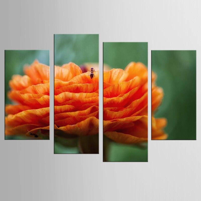 4 paneles de flores anaranjadas y pequeñas abejas lienzo mural arte decoración del hogar sala de estar lienzo impresión pintura moderna
