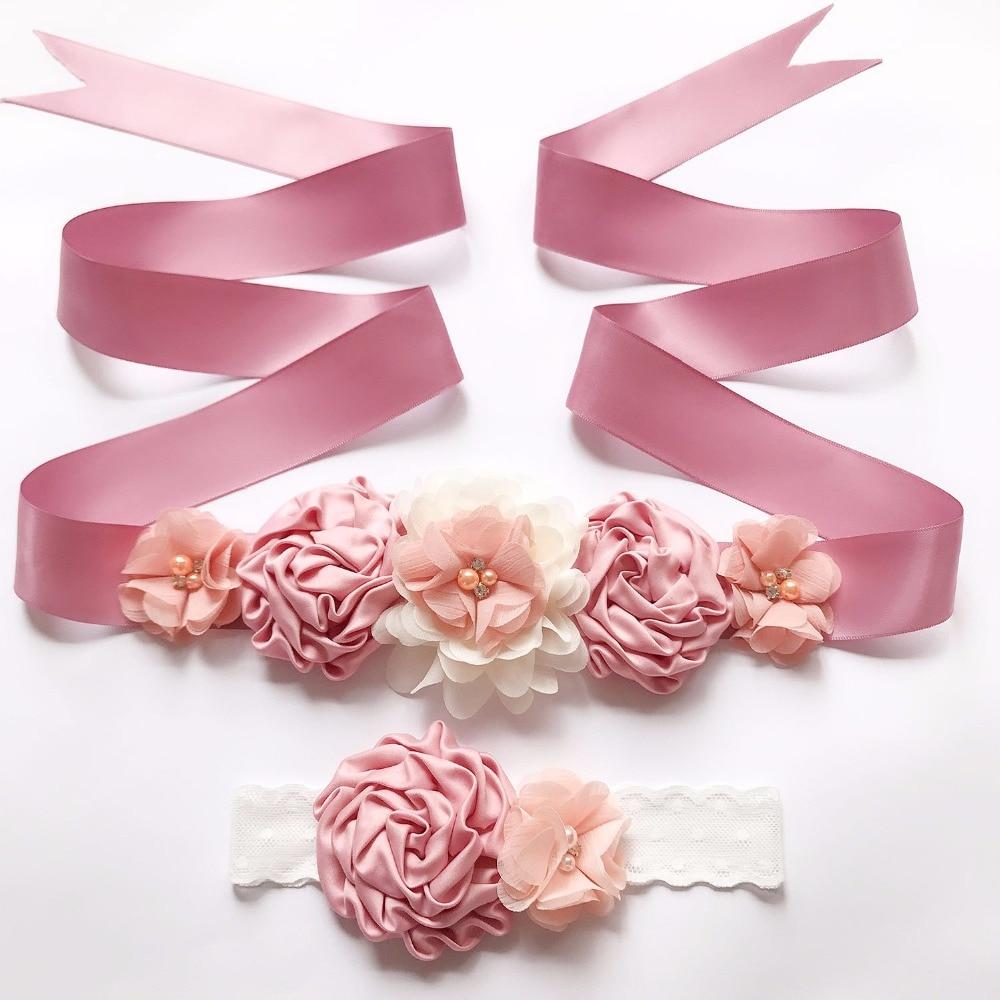 Vintage New Silk Ribbon Flower Belts Girl Woman Sash Belts with Children Flower Headband Fashion Wedding Accessory Decorations