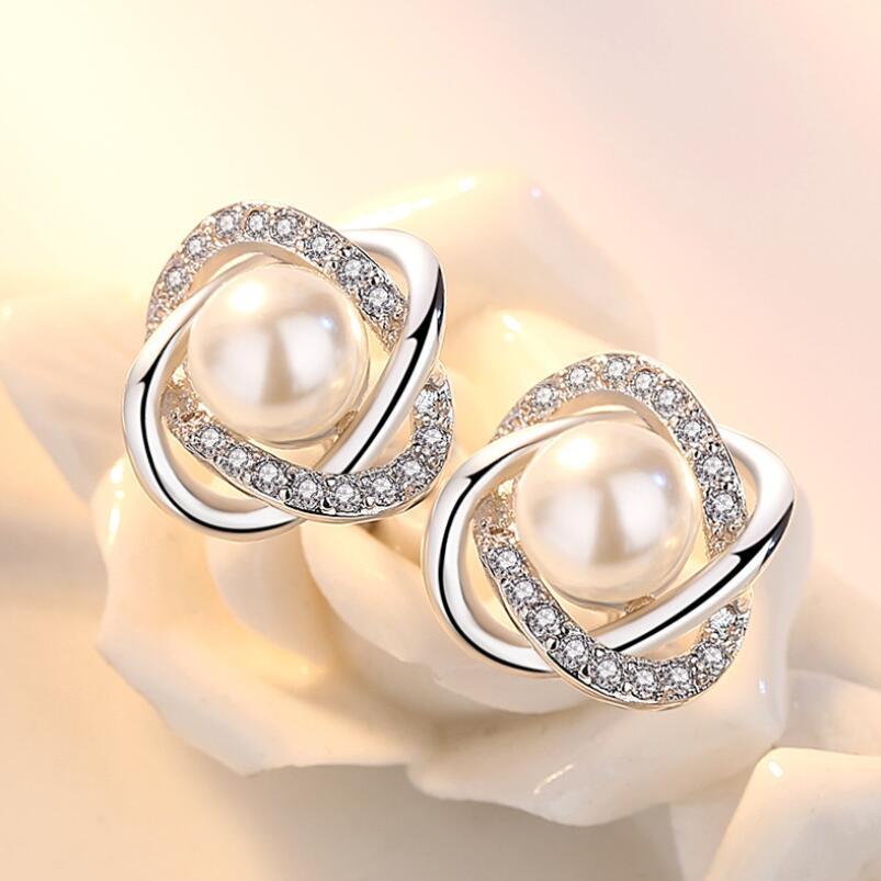 Женские Геометрические серьги-гвоздики с жемчугом и цирконием, 925 пробы, серебряные ювелирные украшения, SAE9