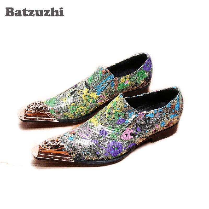 Zapatos de hombre de Batzuzhi Limited, zapatos de vestir de oficina de punta estrecha de Metal, zapatos de fiesta caliente con lentejuelas y zapatos de boda para hombre, US 12