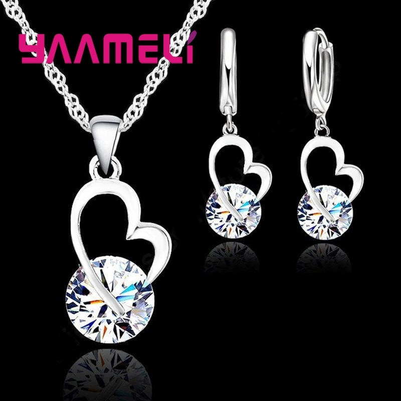 Exquisite Jewelry Sets For Women 925 Sterling Silver Wedding Earrings Pendant Necklace Party Anniversary Charm Gift 925 sterling silver opal stone wedding bridal jewelry sets earrings for women costume jewelry pendant necklace ring set gift box