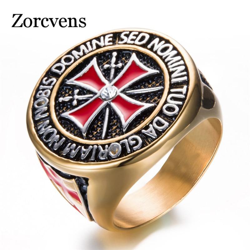 Anillo de acero inoxidable antiguo ZORCVENS, Color oro/plata, hierro, caballeros, Cruz de templario, anillo de boda para mujeres
