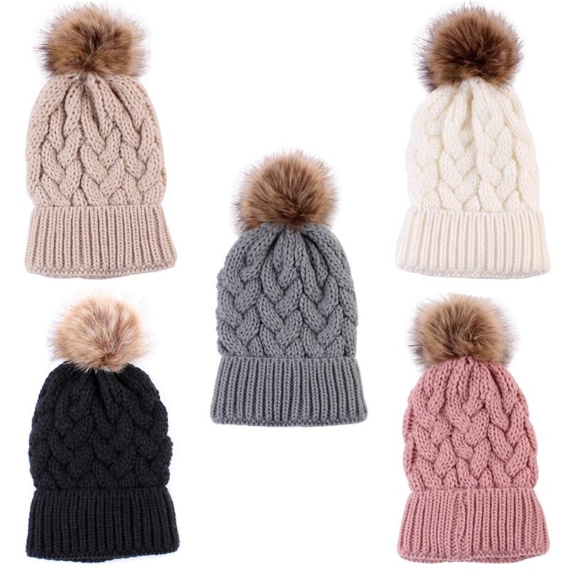 Madre e hija/hijo invierno sombrero abrigado tejido familia Crochet Beanie gorras
