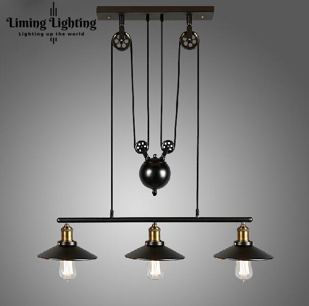 RH Sótão Vindima Fio de Ferro LED Industrial País da América Luzes Pingente Polia Ajustável Retrátil Lâmpada de Iluminação 110 V-240 V