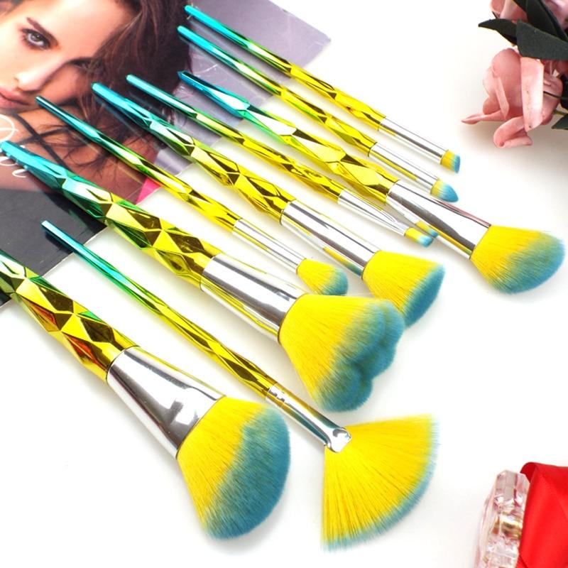 9pcs Red Glitter Diamond Makeup Brushes Set Foundation Blending Power Rainbow Eyeshadow Brush Pincel Maquiagem