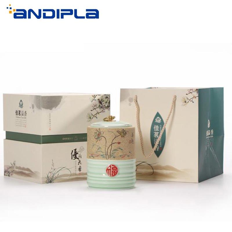 Pastoral Style Celadon Coarse Pottery Tea Caddy Ceramic Tea Cans Candy Coffee Nut Jar  Spice Salt Canister Creativity Home Decor