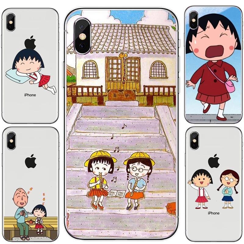 Alivio de Coque carcasa para iPhone 6 6s 7 8 Plus X Xs X carcasa para Max XR suave Sakura Momoko Chibi Maruko Chan cubierta de TPU Flexible teléfono caso
