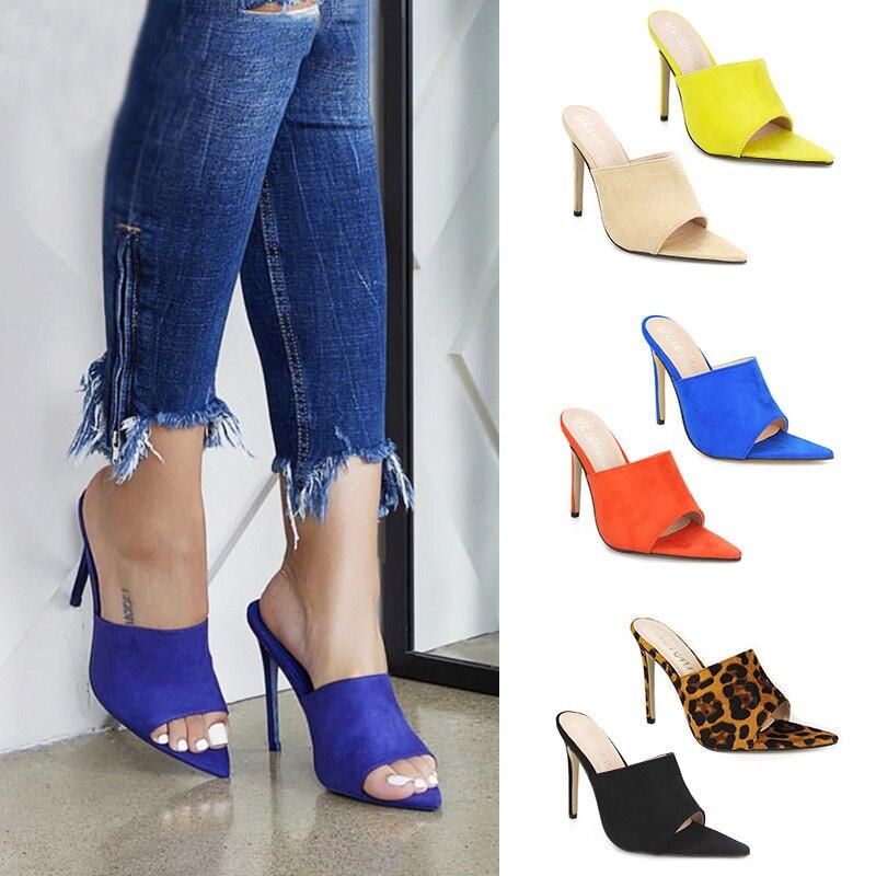Summer Women Sandals Pointed High Heels Sandalias Leopard Women Shoes Slippers Women Heels Plus Size 43 Sandalias Mujer