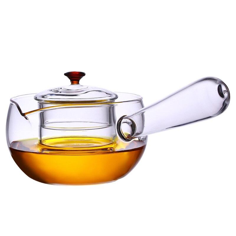 مئزر حرارة وعاء تسخين الزجاج الشفاف أقداح الشاي الكونغ فو الشاي تعيين مقبض خشبي إبريق غلاية