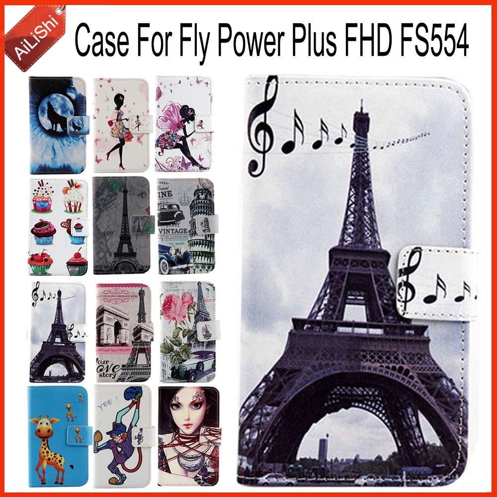 ¡Directo de fábrica AiLiShi! Funda para Fly Power Plus FHD FS554 PU Flip Funda de cuero exclusiva 100% especial funda de teléfono piel + seguimiento