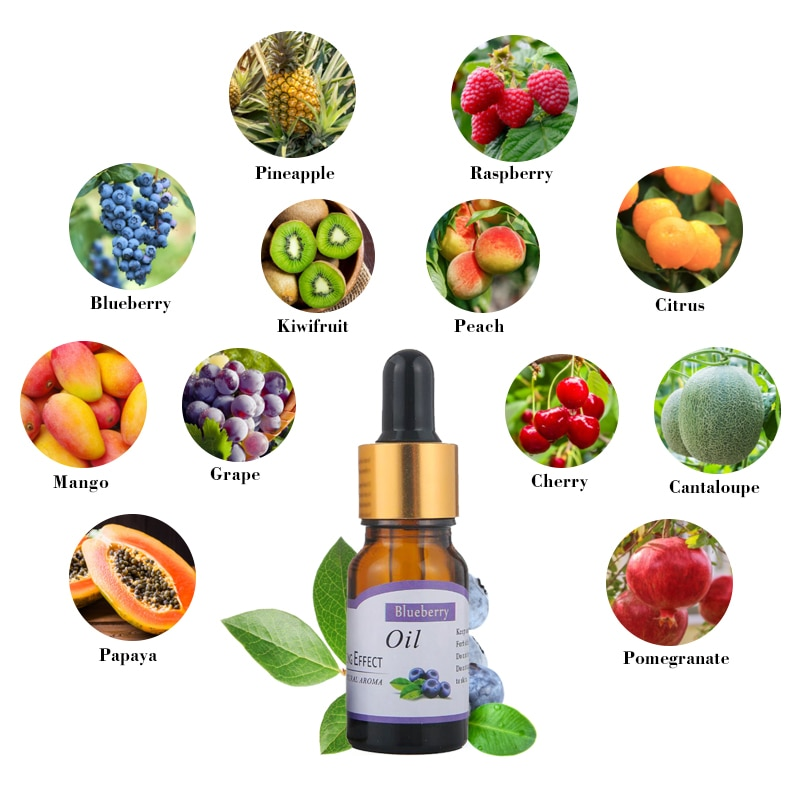12 kind fruit flavour Pure Essential Oils for Diffuser, Humidifier, Massage, Aromatherapy, Blueberry