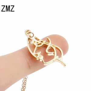 ZMZ 50pcs/lot 2018 Europe/US sketch girl face side profile pendant creative jewelry for girls girlfriend gift party jewelry