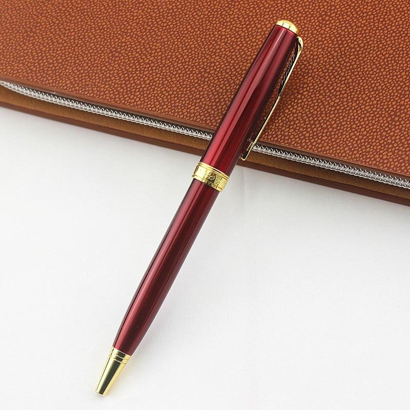 Bolígrafo de papelería de Bolígrafo de Metal giratorio de barra de acero con clip de oro rojo, bolígrafo de 0,7mm con tinta azul, suministros para oficina y escuela, bolígrafo de gel