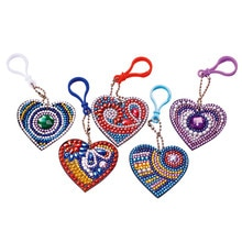 1-6PCS DIY Diamond Keychain Special Shaped Full Diamond Painting Keyring Keychains Cross Stitch Embroidery Women Bag Key Chain