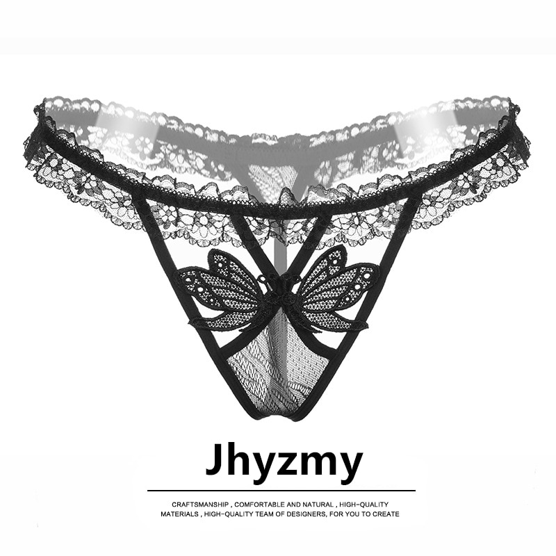 Jhyzmy hot temptation sexy ladies underwear perspective lace panties low waist stretch hollow T pants thong