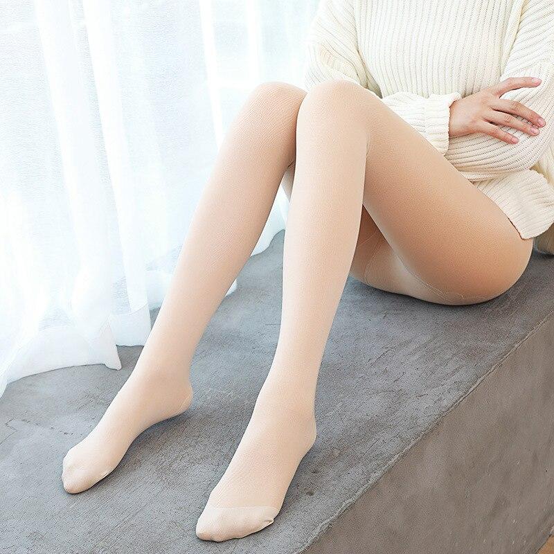 Otoño e Invierno nuevo doble capa falso carne Leggings Plus terciopelo espesamiento ligero piernas Invisible artefacto pantimedias mujeres