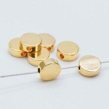 10 piezas de oro de la moneda espaciador perlas 8x3mm/6x3mm cuentas de Rondelle de latón chapado en oro Real, sin plomo y sin níquel (GB-477)