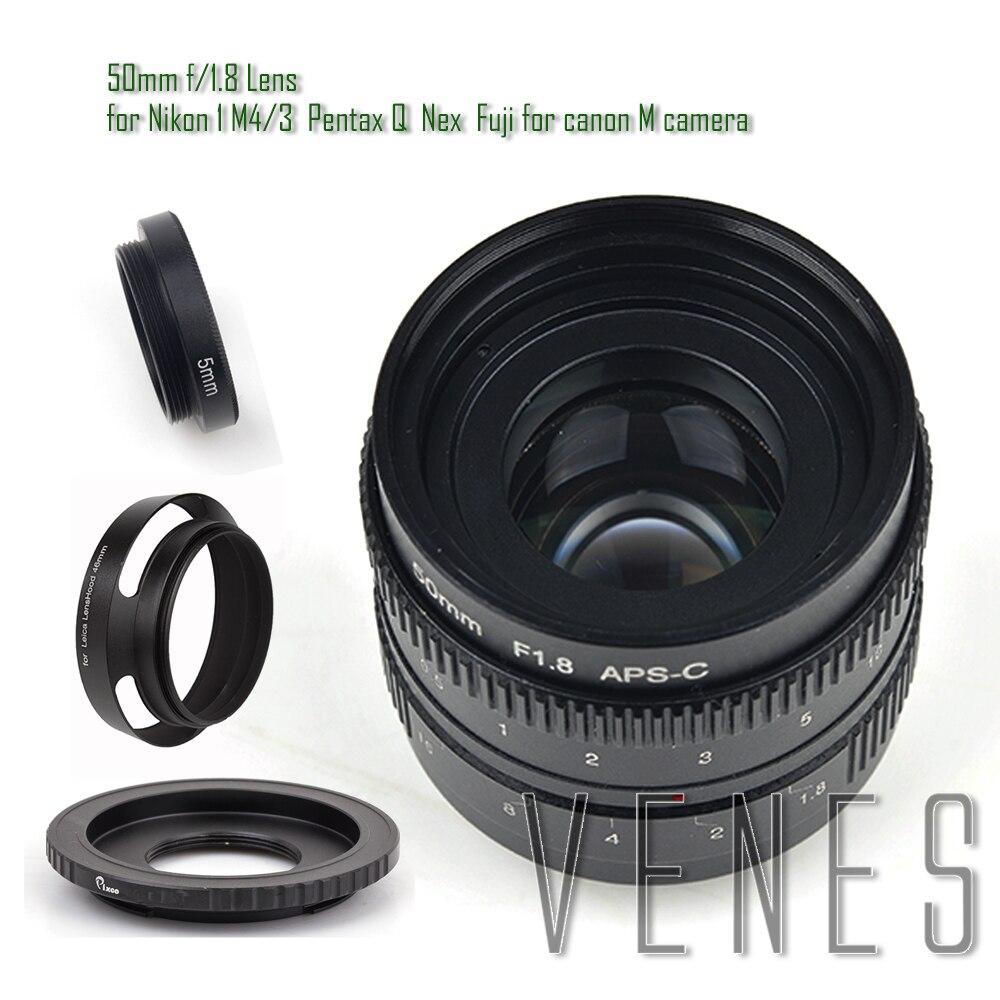 Pixco 50mm f/1.8 APS-C Lens+ Lens Hood+ Macro Ring+16mm C Mount adapter for Nikon 1 Micro 4/3 Pentax Q Nex Fuji for Eos M camera