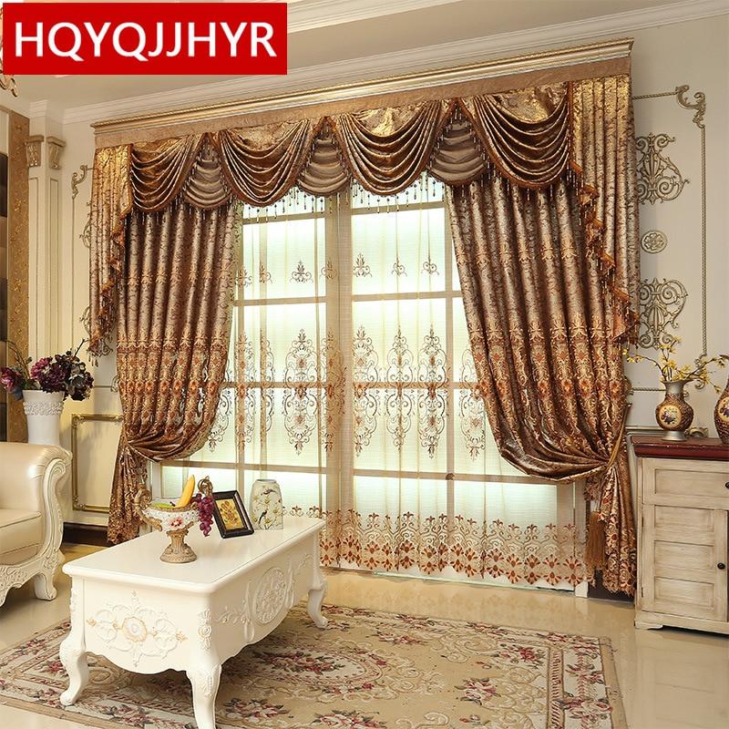 ستائر أوروبية فاخرة بتطريز بني لغرفة المعيشة ، وستائر الفندق الكلاسيكية عالية الجودة لغرفة النوم والمطبخ