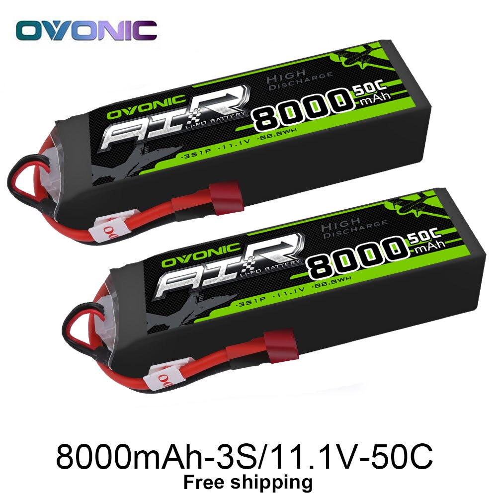 11.1V OVONIC 8000mAh 50C 3S1P Lipo Batteries  Deans Plug for 1/8 Size RC Car Truck Quad Helicopter Drone Boat enlarge