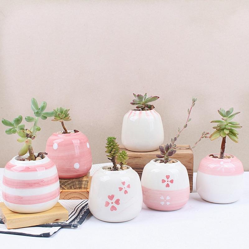 Set of 6 Mini Ceramic Succulent Plant Pot Handmade Pink Porcelain Desktop Planter Home Decor Flower Pot Bonsai Planter