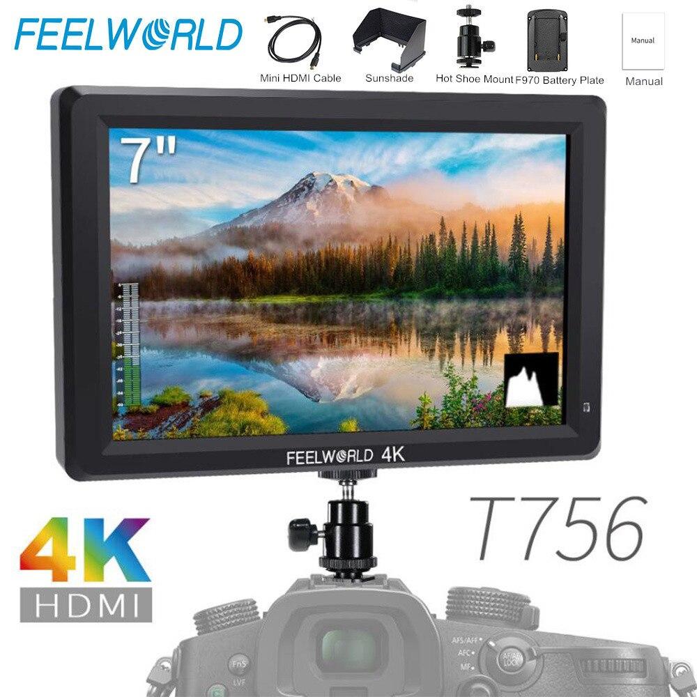 Feelworld T756 7 pulgadas IPS Cámara Monitor de campo DSLR 4K HDMI Full HD 1920x1200 LCD portátil Monitor Nikon Sony etc. Las cámaras