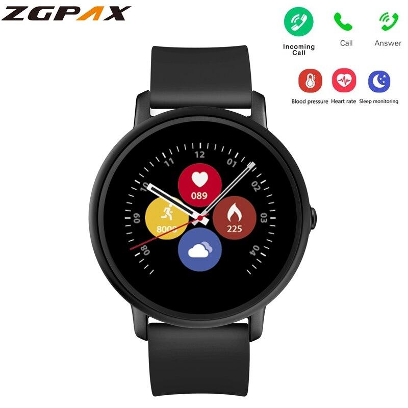 Reloj inteligente ZGPAX S666 con pantalla táctil 2.5D para hombres, Monitor de ritmo cardíaco IP67, reloj inteligente impermeable con llamada Bluetooth para Android IOS