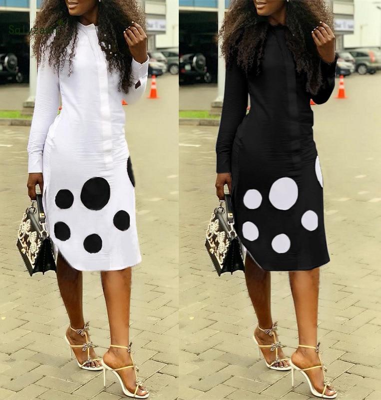 Dot Printed Cotton Tshirt Dress Women White Black Long Sleeve Front Zipper Party Dress Casual Office Work Vestidos Plus Size 2XL