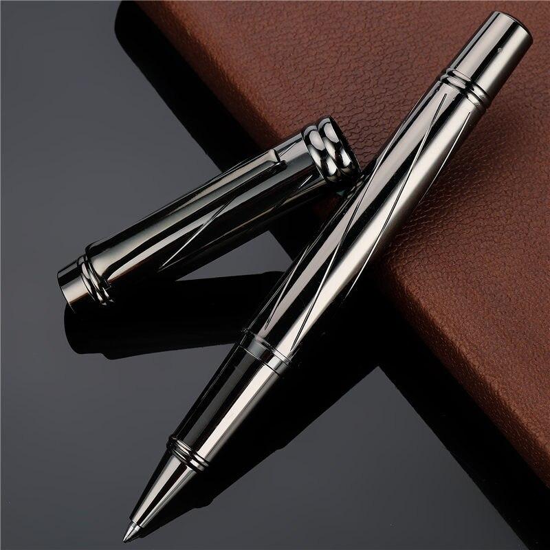 1 pc de alta qualidade luxo metal cheio esferográfica caneta chapeamento prata canetas bola escrita negócio assinatura escola material escritório 03732