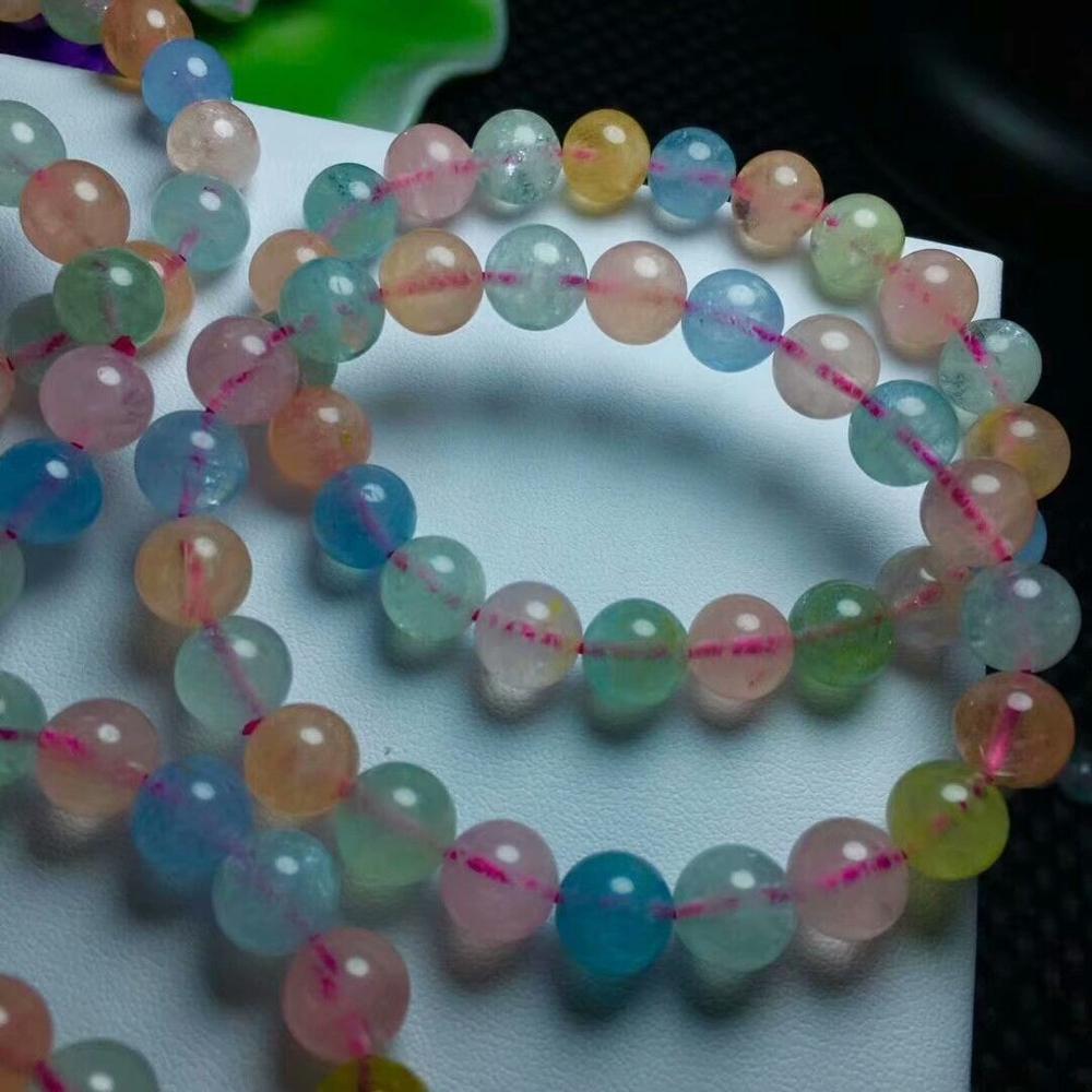 Envío Gratis brazalete de cristal natural Morgan piedra aguamarina AAA 10-9,3 MM