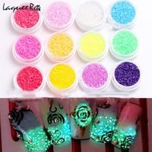 Nail Glitter 12 Color Nail Art Fluorescent Luminescent Glitter Tip Powder Stone Sand Glow In Dark 3D Salon Nails DIY Holographic