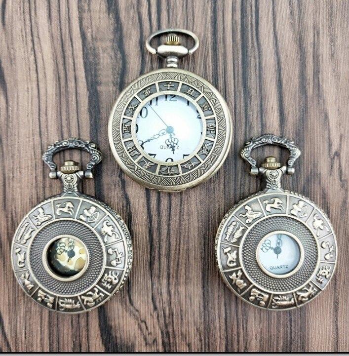 Reloj de bolsillo Retro Zodíaco de constelaciones de bronce antiguo medio cazador con agujeros relojes de bolsillo de cuarzo regalo