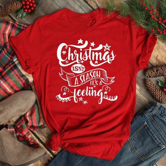 Camiseta navideña de algodón con eslogan, divertida camiseta estampada de vinilo, Color...