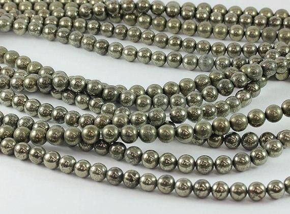 Pirita Natural gema piedra suelta perlas 4mm 6mm 8mm 10mm12mm perlas Natural cuentas de piedra para joyería pulido de alta 1 cadena